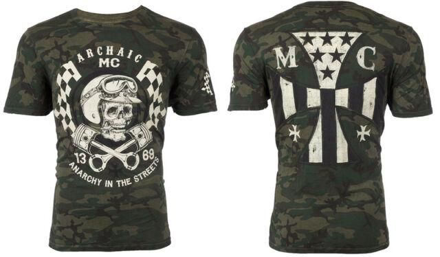 Archaic AFFLICTION Mens T-Shirt FUEL INJECTOR Military CAMO Biker UFC M-3XL $45