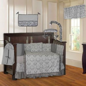 BabyFad-Grey-Damask-10-Piece-Baby-Crib-Bedding-Set-Including-Musical-Mobile