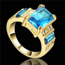 Blue Aquamarine Big Stone Engagement Ring Womens yellow Rhodium Plated Size 7