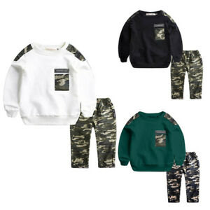 2PCS-Teen-Kids-Baby-Boys-Letter-Tracksuit-Camouflage-Tops-Pants-Outfits-Sets