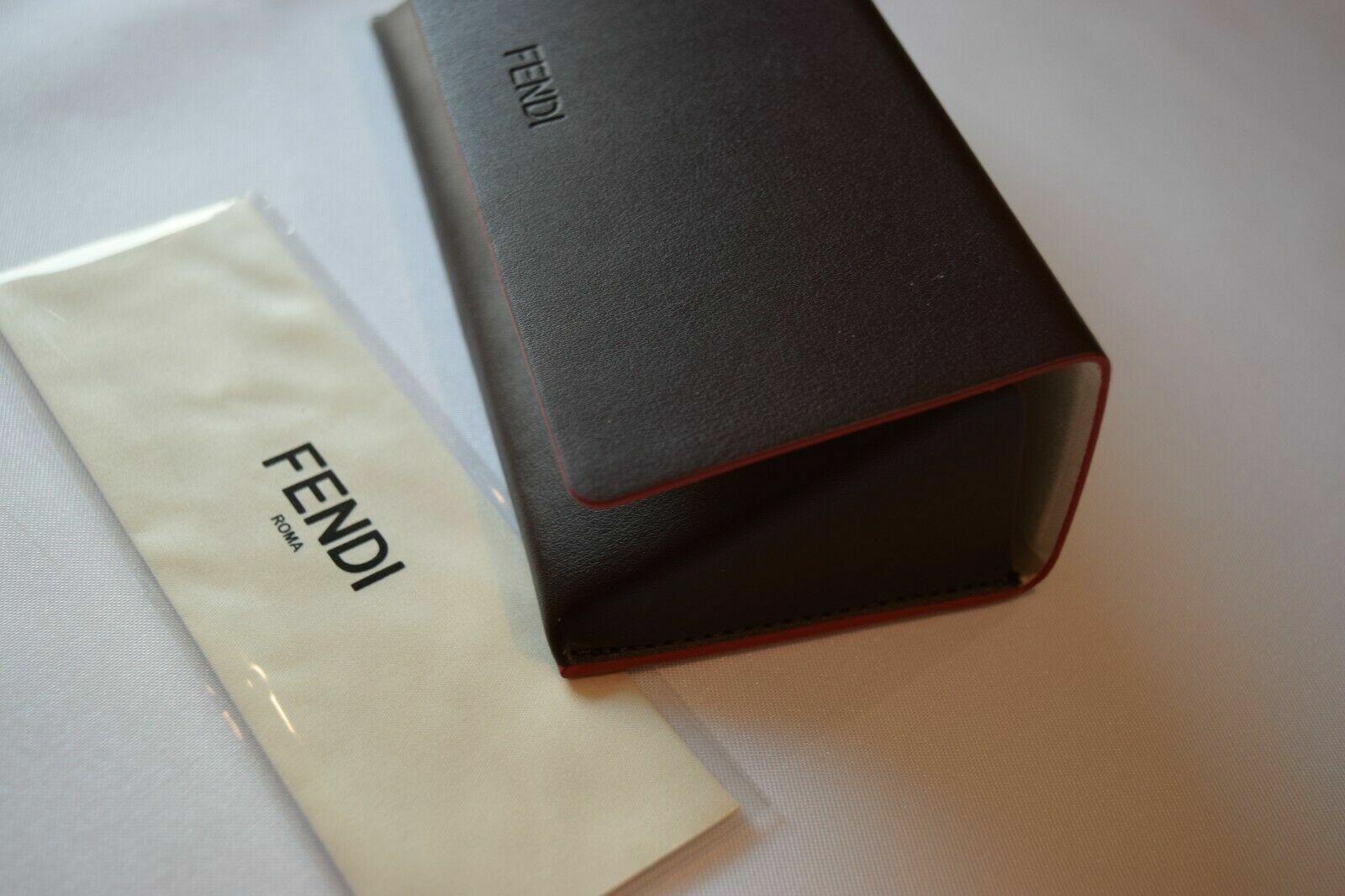 FENDI Leather Triangle Sunglass Case in Brown