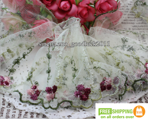 1-yard-Tulle-Lace-Trim-Ribbon-Coloured-floral-Embroidered-Crafts-Sewing-DIY-F176