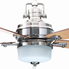 """Pull Chain 52"""" Ceiling Fan Casual Reversible Blades & Modern Classic Dome Light"""