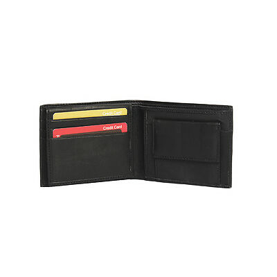 Genuine Leather Money Wallet Purse for Men Gents with Card Slots - Black