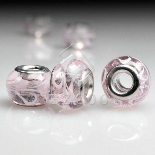 5//10stk.Muranoglas Perlen Lampwork Großlochperlen Spacer European Beads DIY LB3