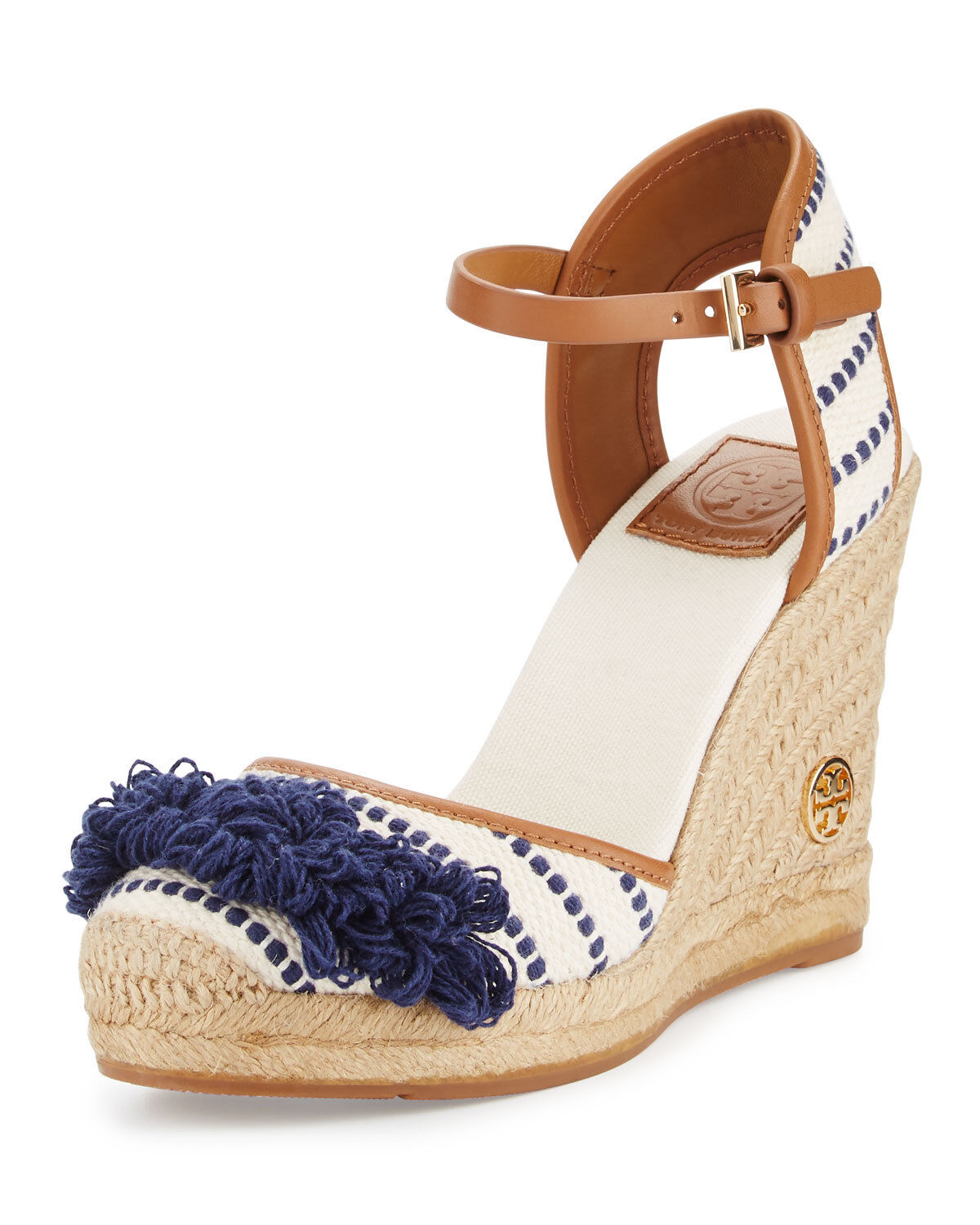 Tory Burch Shaw Striped Wedge Espadrille White Navy shoes New  250 size 10.5