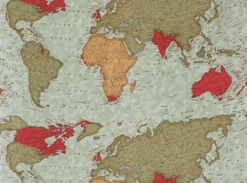 MODA PASSPORT WORLD GLOBE MAP FABRIC BY THE YARD