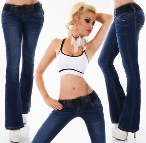 Ceinture Bootcut Dash jeans fonc femmes Hipster Flares pour de Pantalon bleu PqCAfA