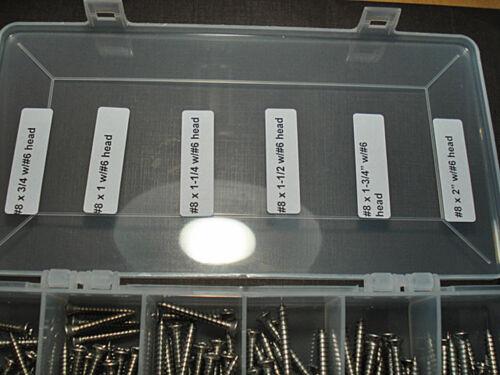 150 pcs Mopar #8 with #6 phillips oval head stainless trim screws assortment