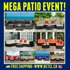 SUMMER SALE • 7Pc Wicker Patio Outdoor Furniture Conversation Set with StorageTable | Assorted Colours Canada Preview