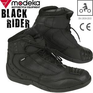 MODEKA-Motorradschuhe-BLACK-RIDER-Sport-Stiefel-mit-CE-Leder-perforiert-Gr-44