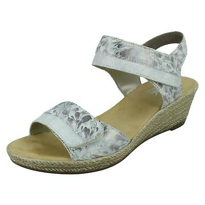 Ladies Rieker 69732 Beige Synthetic Sandals With Diamante Decoration