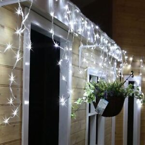 Details About 480 Led White Snowing Icicle Indoor Outdoor Christmas Lights Ultra Bright