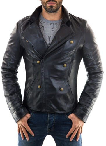 ★Giacca Giubbotto Uomo in di PELLE 100/%★ Men Leather Jacket Veste Homme Cuir 39q