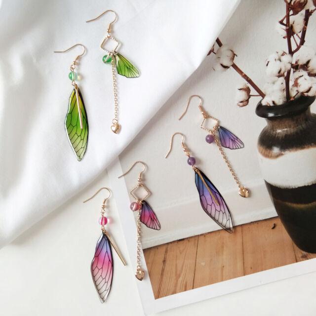 Beautiful Fairy Tale Butterfly Wing Earring Asymmetric Dangle Earrings L