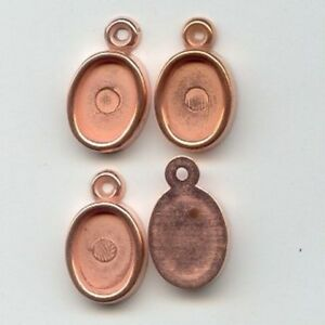 12-VINTAGE-COPPER-COATED-ACRYLIC-14x10mm-OVAL-SETTING-PENDANTS-1990