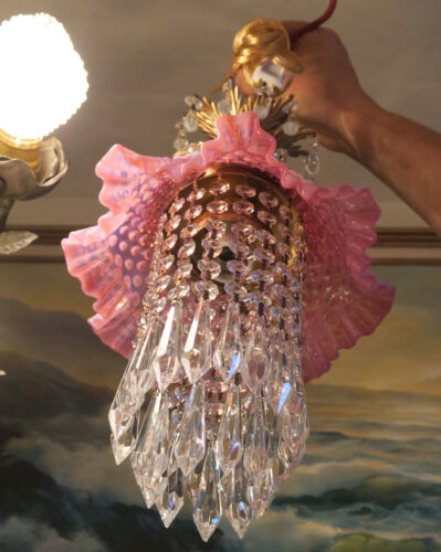 Vintage Fenton Cranberry Jelly Fish Glass brass SWAG Lamp chandelier
