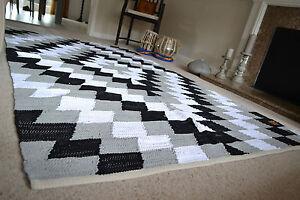 gro muster weicher teppich baumwolle schwarz wei grau handgemacht gewebt ebay. Black Bedroom Furniture Sets. Home Design Ideas