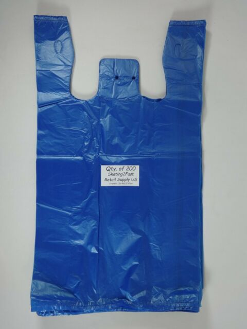 200 Qty. Blue Plastic T-Shirt Retail Shopping Bags with Handles 11.5
