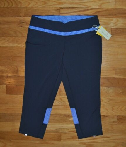 NWT Womens TANGERINE Gray Purple Active Performance Exercise Mesh Capris SMALL