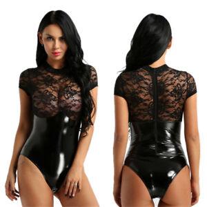 Image is loading Women-Faux-Leather-Leotard-Bodysuit-Lace-Jumpsuit-Catsuit- 6463d38ef