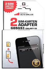 Dual SIM Adapter Karte Card SAMSUNG GALAXY S3 SIII GT-I9300 GDSGS3