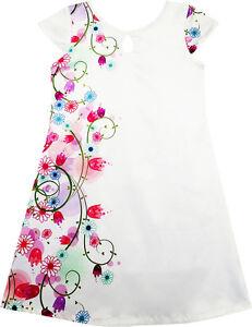 Robe-Fille-Blanc-Tache-Fleur-Imprimer-Casquette-Manche-Partie-Plage-Robe-D-039-ete
