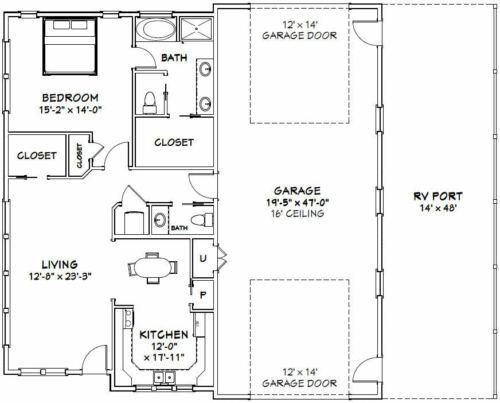 PDF Floor Plan 1,157 sqft 46x48 House Model 3B 1 Bedroom 1.5 Bath 1 RV