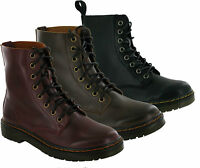 LADIES WOMEN LOW HEEL MILITARY COMBAT BIKER LACE UP MID HIGH ANKLE BOOTS UK 3-8