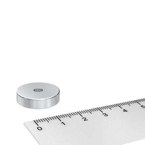 4.2mm BOHRUNG VERNICKELT N45  SUPERMAGNET 50x NEODYM POWER RINGMAGNET 20x5mm