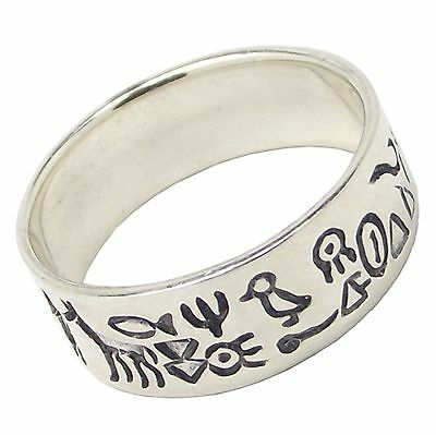 925 Sterling Silver EGYPTIAN Hieroglyphics Band RING Various Sizes 8mm Wide