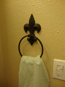 Fleur De Lis Wall Mounted Hand Towel Holder With Ring Ebay