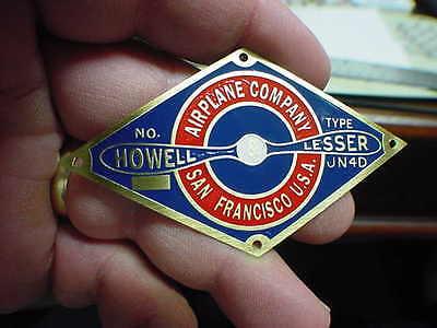 Howell & Lesser Aircraft Propeller data plate Acid Etched Brass Curtiss JN4D