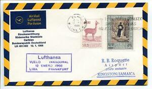 Copieux Ffc 1966 Lufthansa Primo Volo Lh 491 - Lima Kingston Francoforte