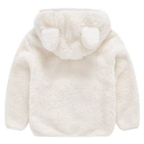Baby Girls Kids Fleece Fluffy Warm Hooded Bear Ear Hoodies Zip-Up Coat Jacket