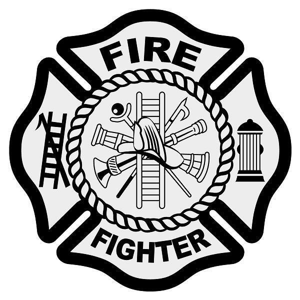 "13/"" Customizable Maltese Cross Fire Firefighter Truck Van Window Vinyl Sticker"