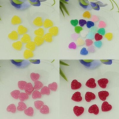 DIY 50 Pcs Multi Color Resin Heart Flatback Scrapbooking For Phone/Wedding/Craft
