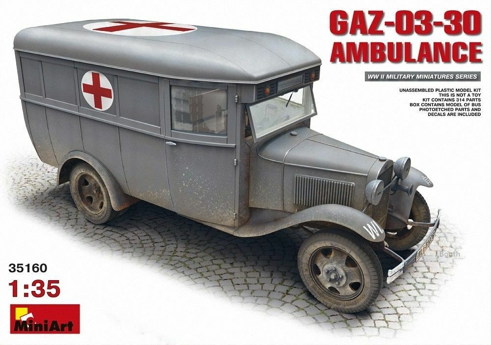 MINIART Gaz-03-30 Ambulanza Croce Rossa KIT 1:3 5 KIT art. 35160 Ambulanza