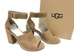 9136803c3ae Details about UGG Australia Women's AJA Chestnut 1020322 Casual Leather  Suede Buckle Heels