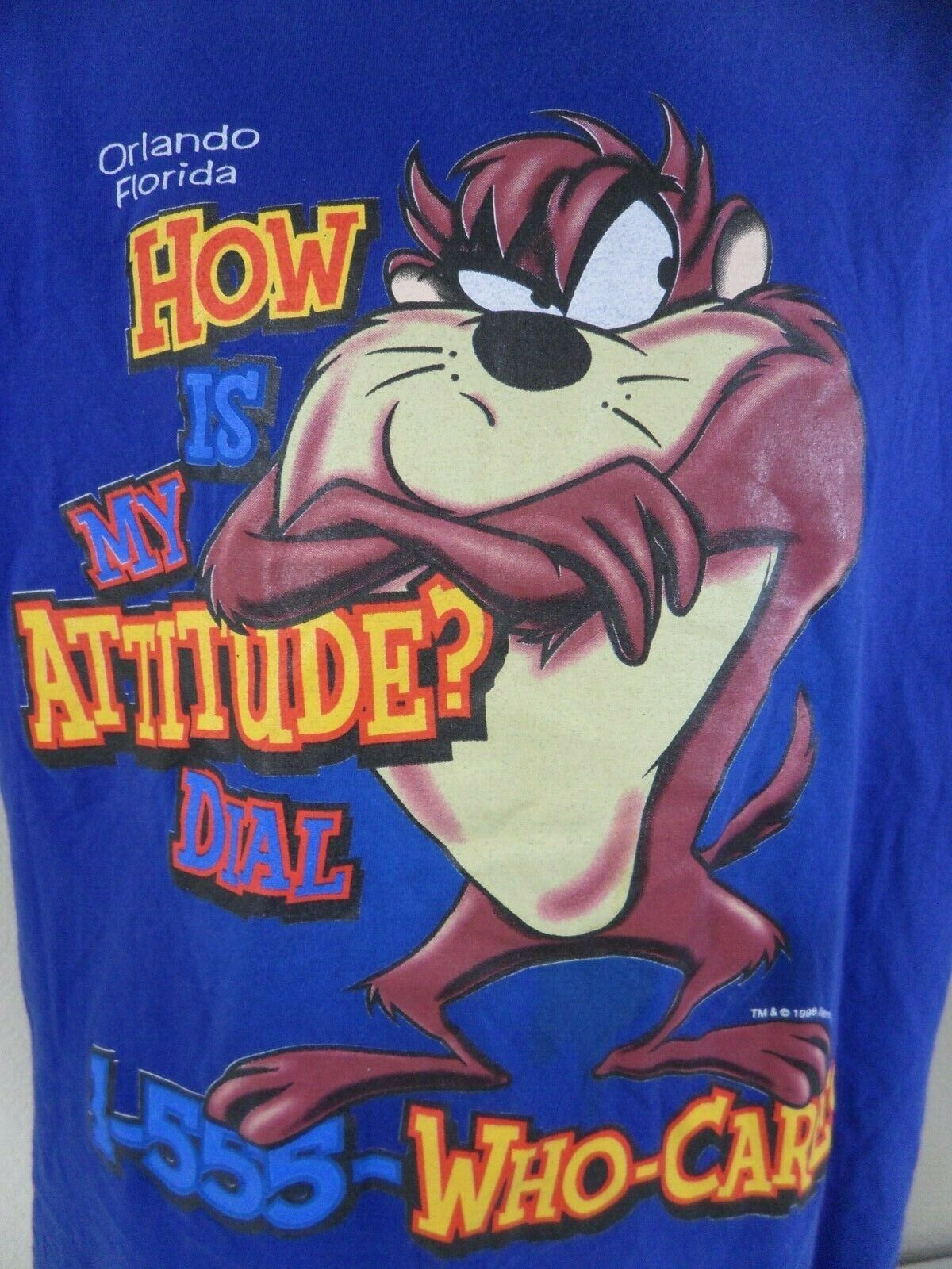 Taz Devil Orlando How Is My Attitude Dial Who Cares Large T Shirt Vintage 1998