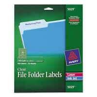 Avery Clear File Folder Labels 1/3 Cut 2/3 X 3 7/16 450/pack 5029 on sale