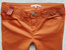 River Island Ladies Size 10 R super skinny orange zips trousers jeans 30/31