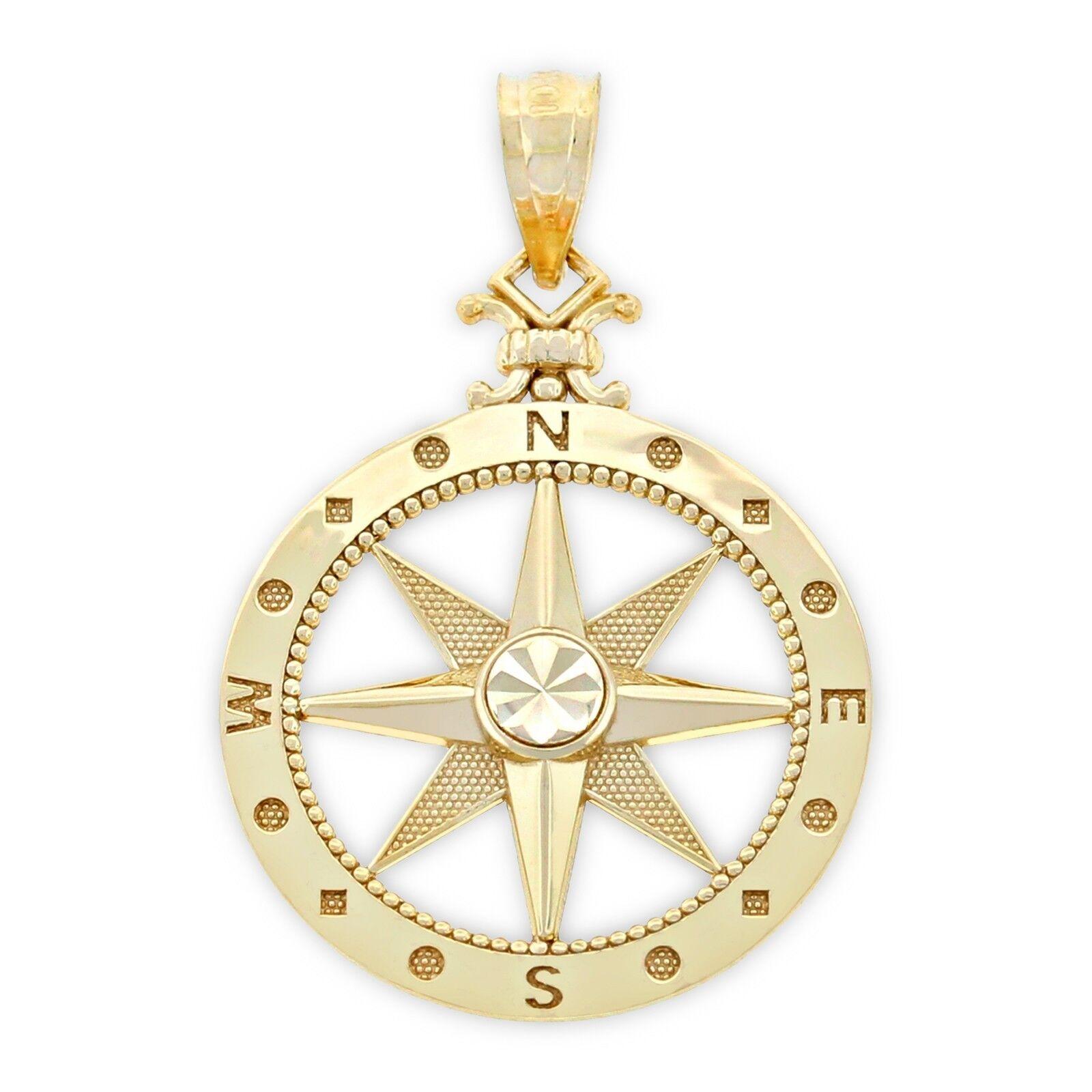 Charm America - gold Compass Charm - 14 Karat Solid gold