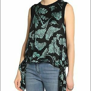 Cinq-a-Sept-Black-amp-Green-Silk-Satin-Tropical-Palm-Print-Side-Tie-Top-SZ-S