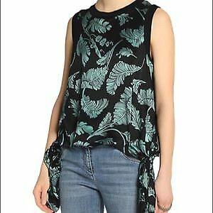 Cinq a Sept Black & Green Silk Satin Tropical Palm Print Side Tie Top SZ S