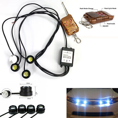 4in1 White Eagle Eye LED Car SUV Strobe Warning Grille Light DRL /&Remote Control