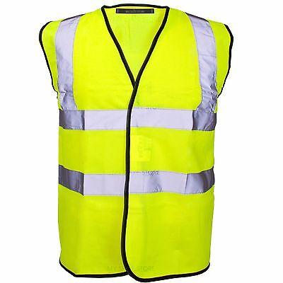 HI VIZ VIS VISIBILITY SECURITY WORK CONTRACTOR SAFETY VEST WAISTCOAT JACKET SIZE