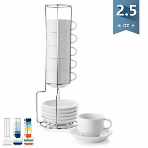 Details About Sweese 4310 Porcelain Stackable Espresso Cups With Sauceretal Stand 2 5