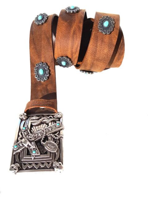 Leder Nietengürtel Buckle Gürtel türkis Western Indian Biker Skull Totenkopf 4cm