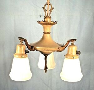 Antique victorian 3 arm chandelier with original milk glass shades image is loading antique victorian 3 arm chandelier with original milk aloadofball Images